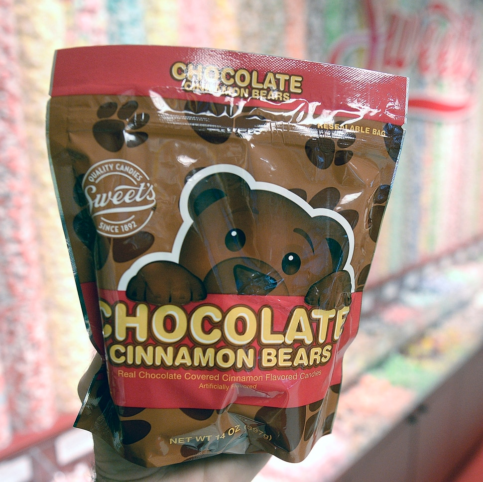(Al Hartmann | The Salt Lake Tribune) Sweet Candy company's Chocolate Cinnamon Bears, which are unique to Utah and the Intermountain West. The company makes about 1 million pounds of the red bears covered in chocolate each year. While popular for many years — especially among BYU students. But they really took off four years ago, when Sweet Candy began selling them in stand-up pouches. Now they are sold in Costco, Walmart, Smith's, Harmon's and Associated Foods.