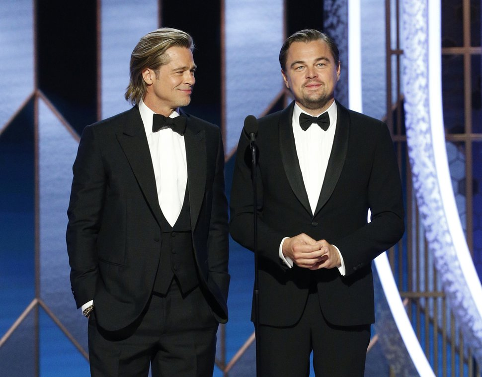 (Paul Drinkwater | NBC via AP) Presenters Brad Pitt, left, and Leonardo DiCaprio at the 77th Annual Golden Globe Awards at the Beverly Hilton Hotel in Beverly Hills, Calif., on Sunday, Jan. 5, 2020.