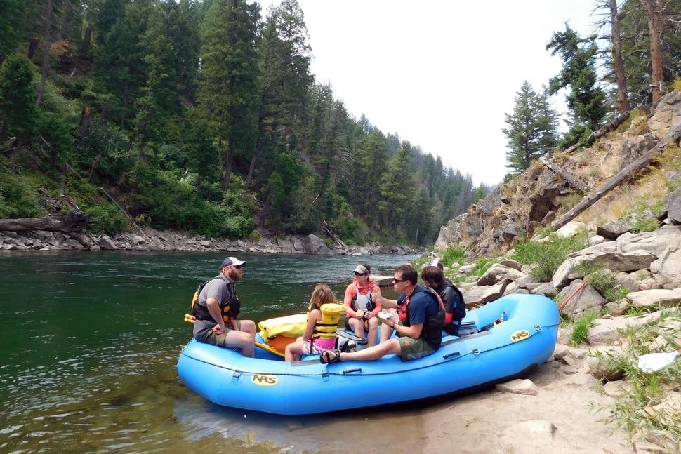 Rafters rest alongside the Salmon River on August 19, 2017 near Stanley, Idaho. (Erin Alberty | The Salt Lake Tribune)