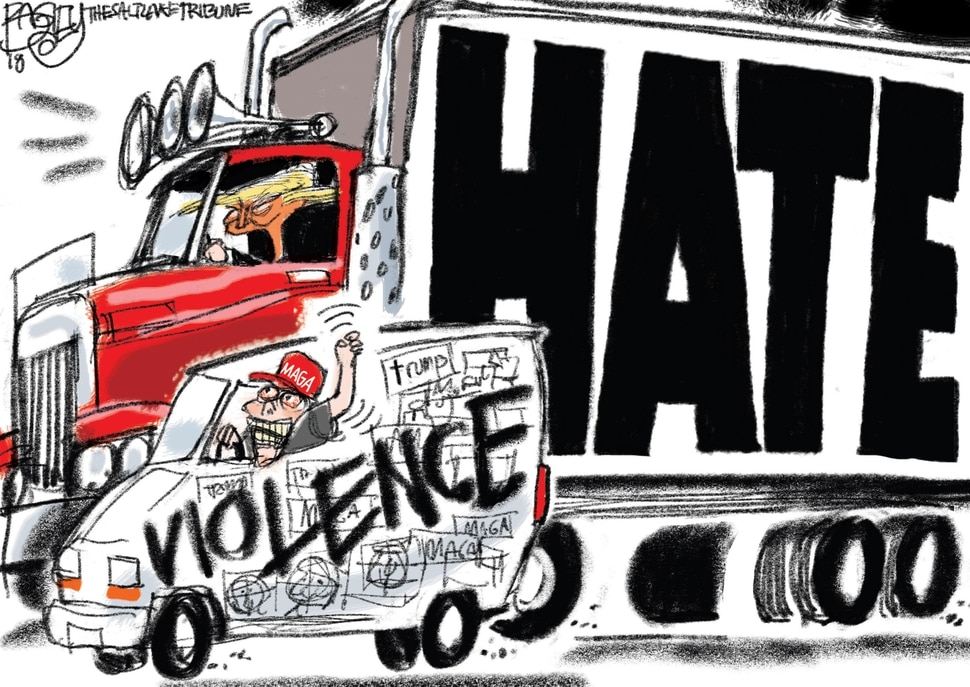 (Pat Bagley | The Salt Lake Tribune) This cartoon by Pat Bagley titled What's Driving Hate appears in the Oct. 27, 2018, edition of The Salt Lake Tribune.