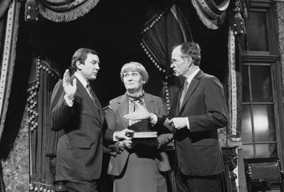 (Photo courtesy Sen. Orrin Hatch's office.) Vice President George H. W. Bush swears in Utah Sen. Orrin Hatch for a second term in office on Jan. 3, 1983.