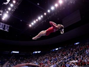 (Leah Hogsten    Tribune file photo) Utah's MyKayla Skinner scored a 9.975 on the vault as No. 3 University of Utah gymnastics team meets BYU gymnastics at the Marriott Center, Jan. 10, 2019. Skinner took a year off to prepare to qualify for the Tokyo 2020 Olympics. That year has turned into two with the postponement of the Summer Games until 2021 because of the coronavirus.