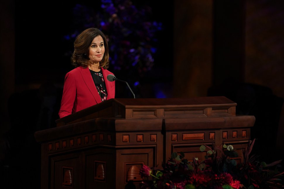 (Photo courtesy of The Church of Jesus Christ of Latter-day Saints) Lisa L. Harkness, first counselor in the Primary general presidency, speaks at the Sunday morning session of the 190th Semiannual General Conference of The Church of Jesus Christ of Latter-day Saints on Oct. 4, 2020.