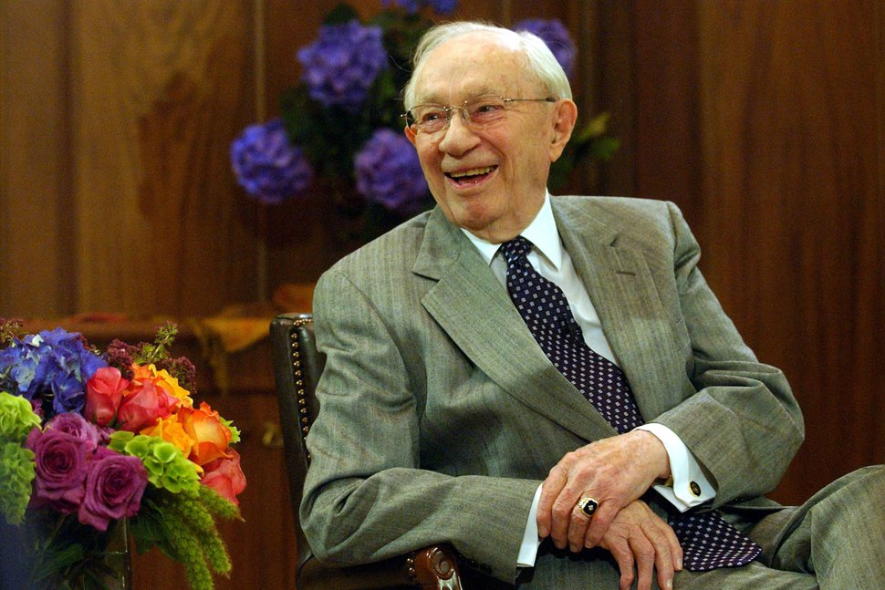 LDS Church President gordon B. Hinckley held a conference with reporters in advance of his 95th birthday bash in July. Photo by Leah Hogsten 6/20/05 Salt Lake City
