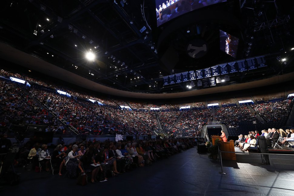 | Courtesy of The Church of Jesus Christ of Latter-day Saints Inside the Marriott Center at the opening of the BYU Women's Conference in Provo, Utah, May 4, 2017.