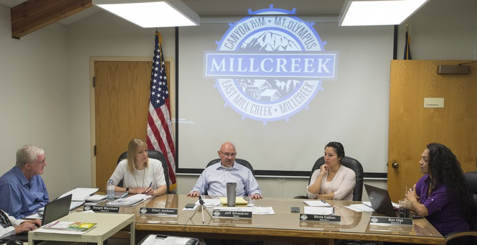 (Rick Egan | Tribune file photo) Millcreek City Council, as seen on Monday, July 17, 2017. The council voted in September to begin licensing landlords of one- and two-bedroom rentals in the east bench community effective Jan. 1, 2019, following complaints from residents over unkempt dwellings.