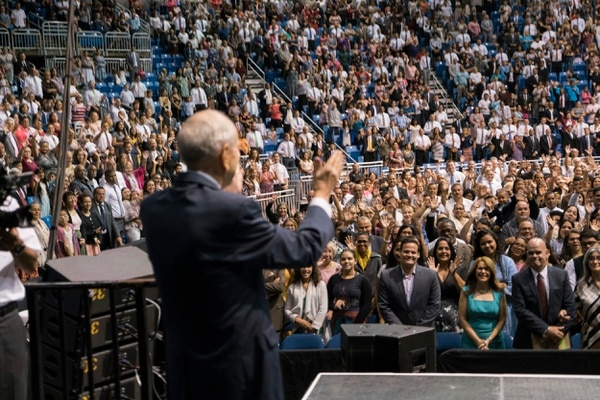 (Photo courtesy of The Church of Jesus Christ of Latter-day Saints) LDS Church President Russell M. Nelson speaks to members at a devotional held at the Coliseo de Puerto Rico José Miguel Agrelot in San Juan on Sunday, Sept. 2, 2018.