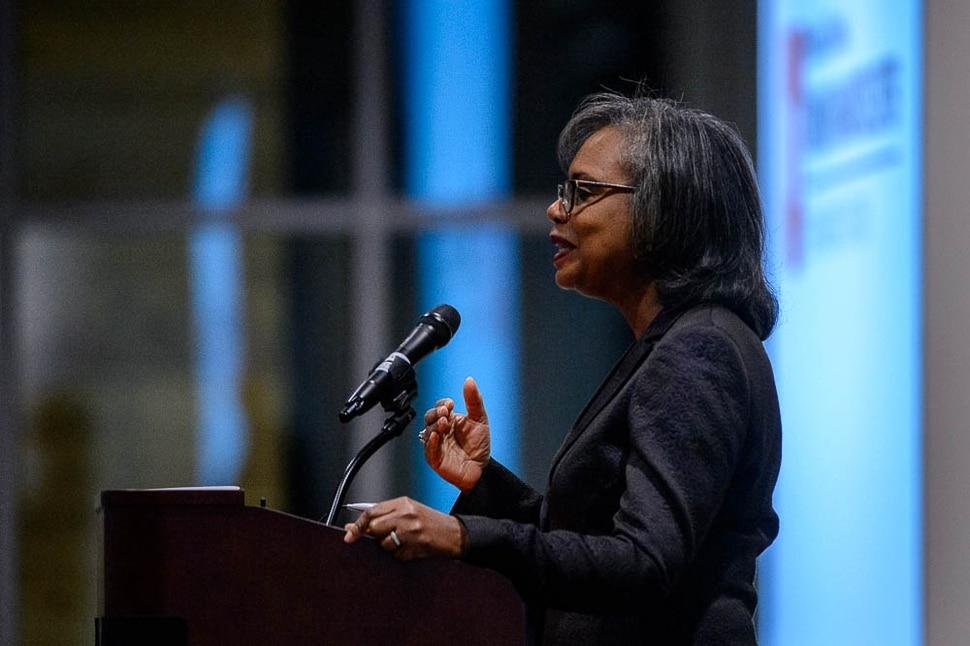(Trent Nelson | The Salt Lake Tribune) Anita Hill speaks at the University of Utah in Salt Lake City, Wednesday Sept. 26, 2018.