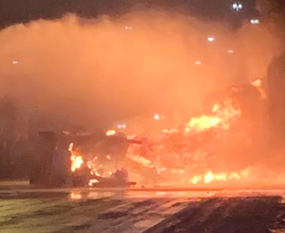 (Photo courtesy Salt Lake City Fire Department) A diesel tanker burst into flames after an accident early Friday morning, shutting down southbound I-15.