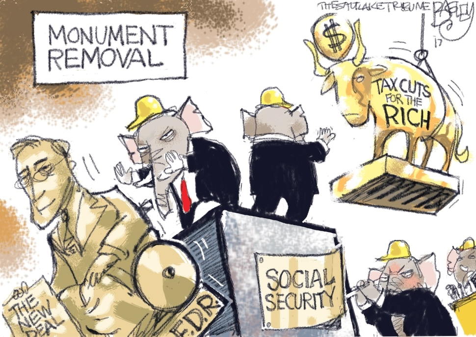 (Pat Bagley | The Salt Lake Tribune) This Pat Bagley cartoon, titled Monument Removal, appears in The Salt Lake Tribune on Friday, Oct. 20, 2017.