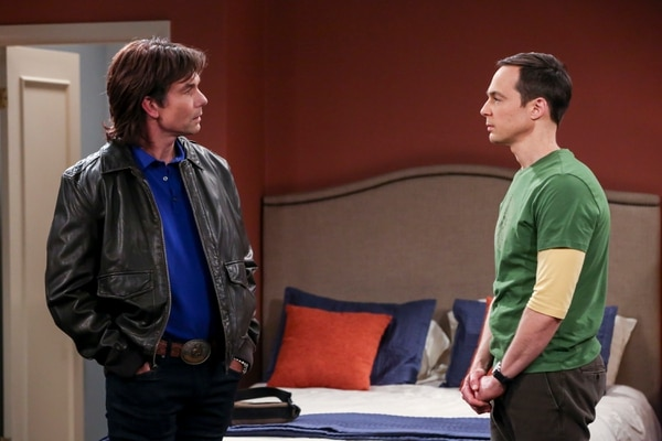 """(Photo: Michael Yarish/Warner Bros.) Jerry O'Connell, left, guest stars as Georgie, Sheldon's (Jim Parsons) brother, on """"The Big Bang Theory."""""""