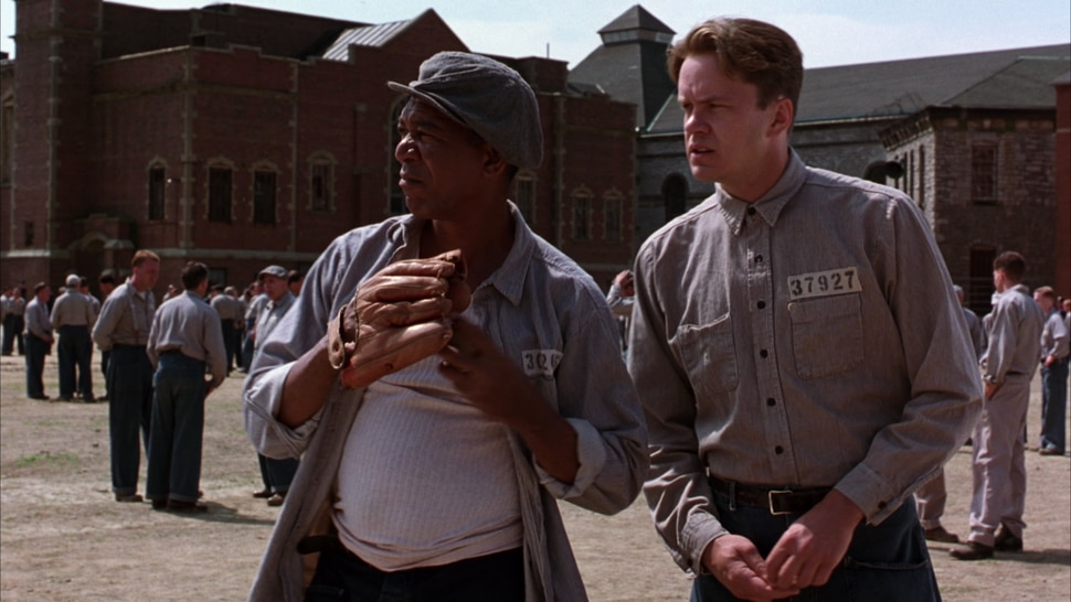Courtesy photo Longtime inmate Red (Morgan Freeman, left) meets a new prisoner, Andy Dufresne (Tim Robbins), in the 1994 drama