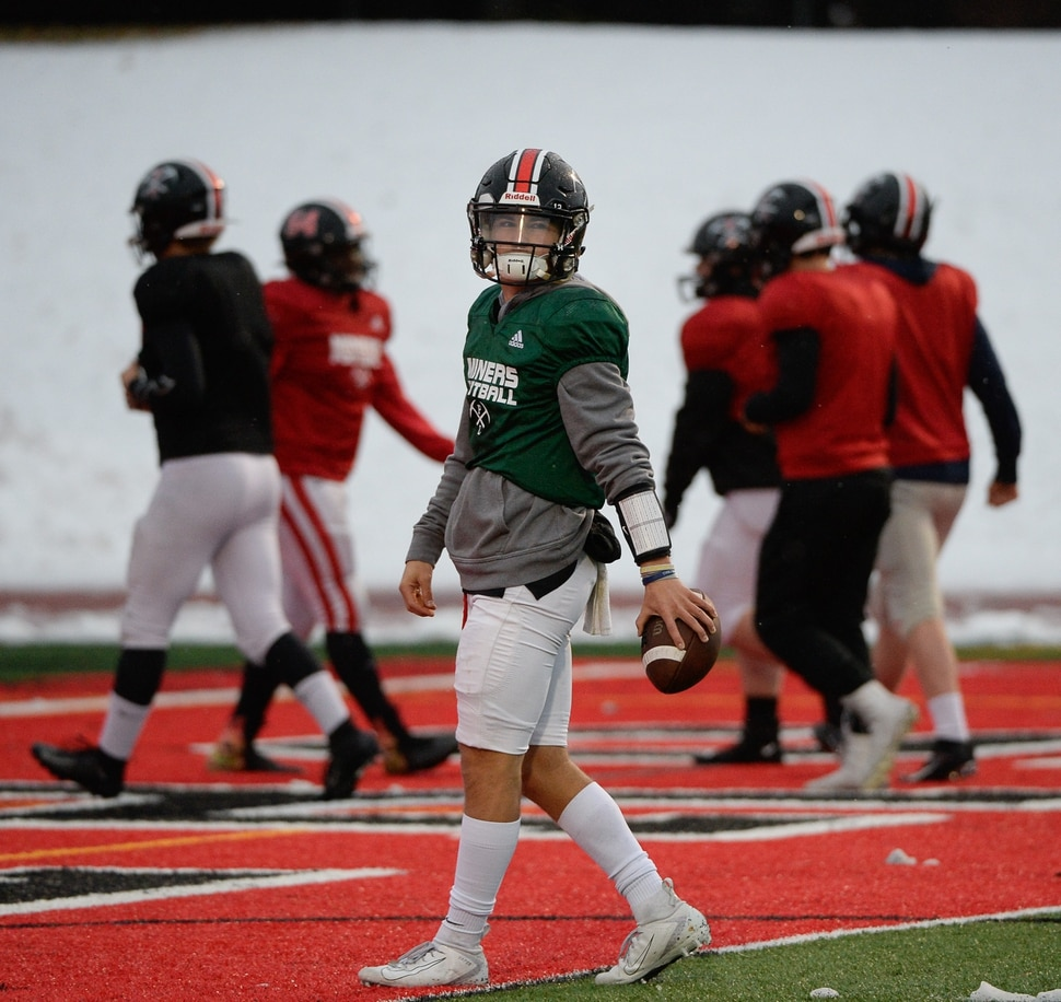 (Francisco Kjolseth | The Salt Lake Tribune) Park City quarterback Jack Skidmore prepares for the team's upcoming 4A Championship game on Wednesday, Nov. 20, 2019, in Park City before facing Sky View in the title game Friday. If they win, it would be the first football title for the school. They have played in five championship games before this year, with the last one taking place in 2001.