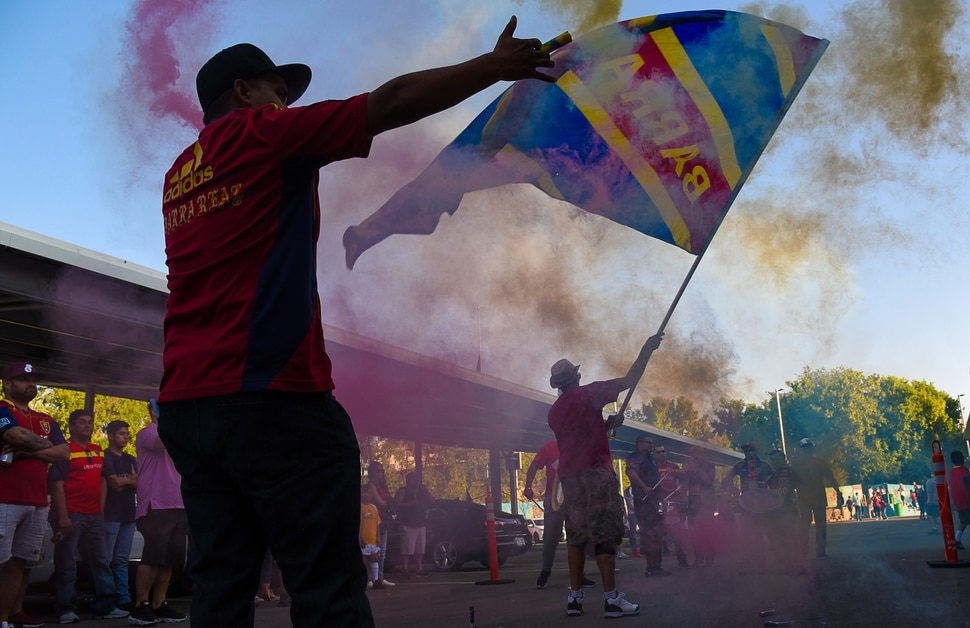 (Francisco Kjolseth | The Salt Lake Tribune) RSL soccer fans get pumped up before a tough match up against L.A. Galaxy Saturday, Sept. 1, 2018, in Sandy at Rio Tinto Stadium.