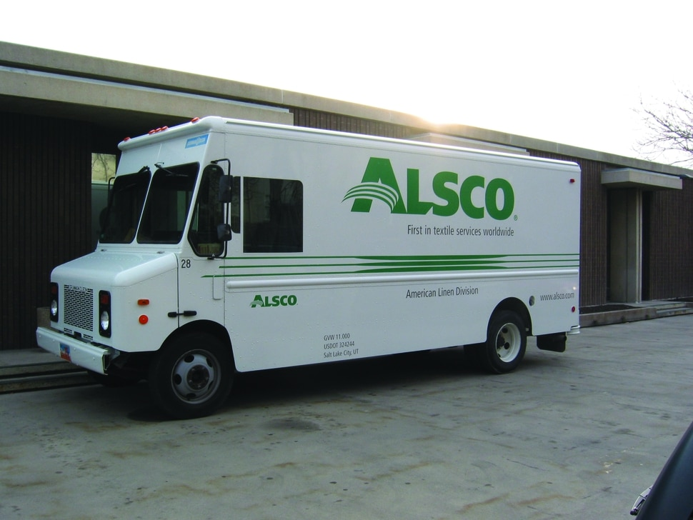 These days, a sleek white truck with the company's name and logo emblazoned on the side in big green letters is the means by which Alsco collects and delivers most linens and uniform products to 350,000 customers worldwide.