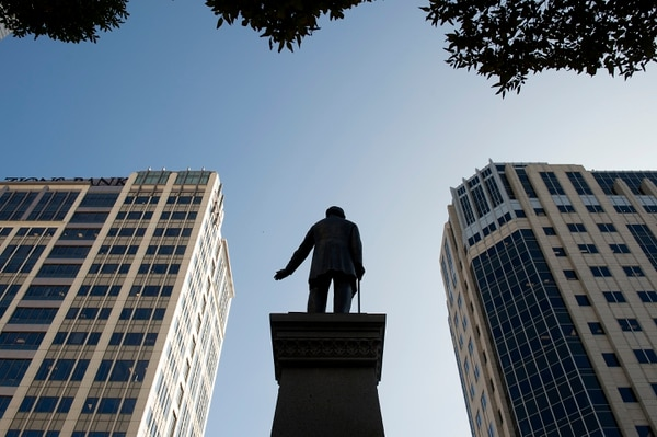 The Brigham Young Monument located on the north sidewalk of the intersection at Main and South Temple Streets of Salt Lake City, was erected in honor of pioneer-colonizer, Utah governor, and LDS Church president Brigham Young who led the Mormon pioneers into the Utah Territory in 1847.