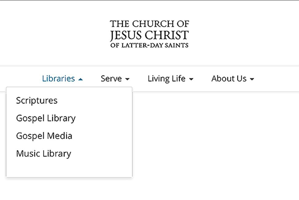 (Screenshot courtesy of The Church of Jesus Christ of Latter-day Saints) This shows a new, simplified menu coming to the church's website.