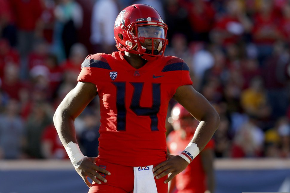 (Rick Scuteri | AP file photo) Arizona quarterback Khalil Tate (14) looks on in the second half during an NCAA college football game against Arizona State on Nov. 24, 2018, in Tucson, Ariz.