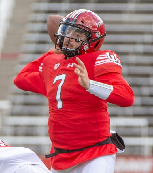 (Rick Egan | The Salt Lake Tribune) Quarterback Cameron Rising throws the ball in Utah's spring Red-White game at Rice-Eccles Stadium, Saturday, April 13, 2019.
