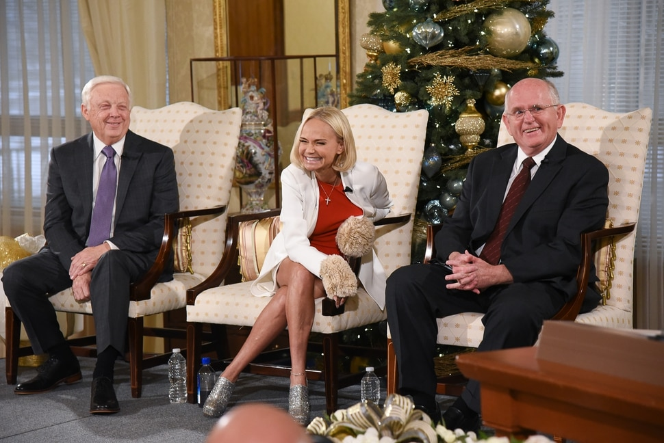 (Francisco Kjolseth | The Salt Lake Tribune) Kristin Chenoweth, the guest artists and narrator at The Tabernacle Choir's annual Christmas concert this year jokes around with President of the choir Ron Jarrett, left, and music director Mack Wilberg during a press conference at the Relief Society Building on Wed. Dec. 12, 2018.