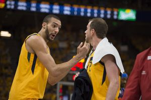 (Scott Sommerdorf | The Salt Lake Tribune)Utah Jazz center Rudy Gobert (27) talks with Utah Jazz forward Joe Ingles (2) after a first half time out. The Thunder led the Jazz 22-18 at the end of the 1st quarter during Game 6 of the first round playoff game, Friday, April 27, 2018.
