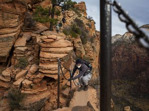 (Nikki Boliaux | New York Times file photo) Hikers use the chains along a portion of the Angels Landing trail in Zion National Park in Utah, where the number of visitors has surged, Nov. 23, 2020. Novice hikers and climbers have flocked to the outdoors during the pandemic, but some are unprepared for the dangers on the trails.