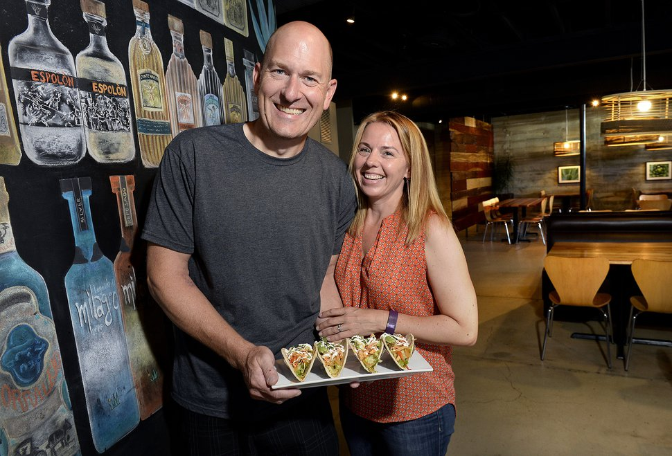 Scott Sommerdorf | The Salt Lake Tribune Todd and Kristin Gardiner, co-owners of Taqueria 27, pose in the Foothill Blvd. location, Thursday, July 2, 2015.