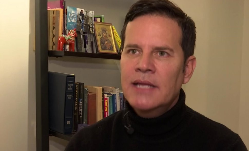 In this frame taken from video, Juan Carlos Cruz speaks during an interview with The Associated Press in Philadelphia, Sunday Feb. 4, 2017. Cruz says Pope Francis received a letter he wrote in 2015 detailing the sexual abuse he suffered at the hands of a priest and efforts by the Chilean church to cover it up, contradicting the pope's recent insistence that no victims had come forward. (AP Photo)