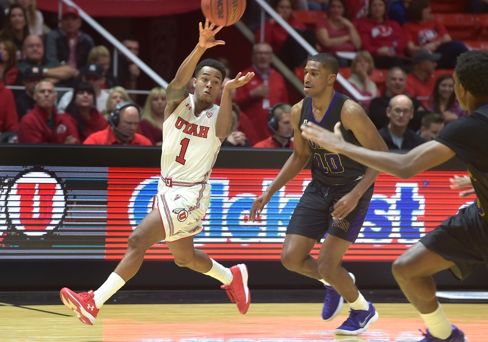 (Scott Sommerdorf | The Salt Lake Tribune) Utah's Justin Bibbins passes during first half play. Utah led Prairie View A&M 39-31, Friday, November 10, 2017.