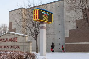 (Leah Hogsten | The Salt Lake Tribune) Students of Escalante Elementary in Salt Lake City head back to class, January, 25, 2021.