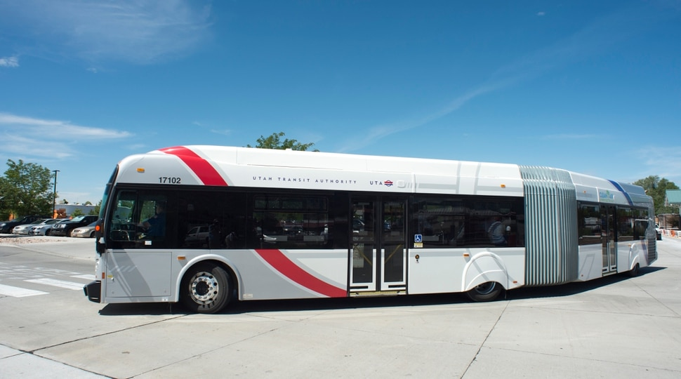 (Rick Egan | The Salt Lake Tribune) The new UTA Utah Valley Express (UVX), which will be part of UTA's newest bus rapid transit system (BRT) between Orem and Provo. It currently is being tested and is scheduled to begin operations in August. The new extra-long buses will run every 6 minutes. Wednesday, May 30, 2018.