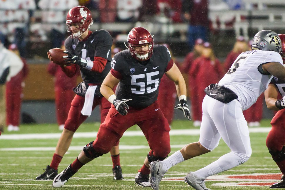 (Photo courtesy of Washington State University). Offensive lineman Noah Osur-Myers, shown playing in a 2017 game, has transferred to Utah for his final season of eligibility.