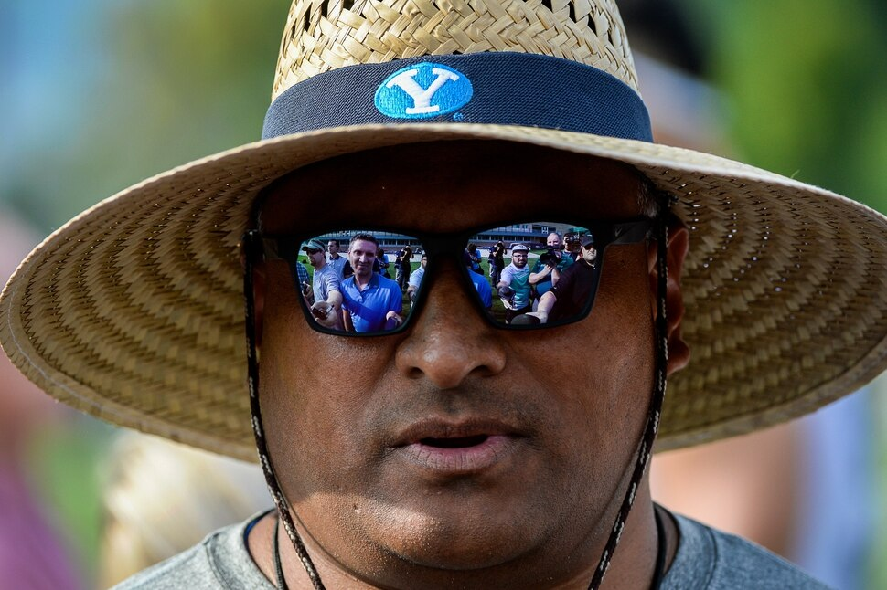 (Francisco Kjolseth | The Salt Lake Tribune) BYU football coach Kalani Sitake expresses a sense of urgency following last years struggles as he speaks with the media following the start of preseason training camp on their practice field on Thursday, Aug. 2, 2018.