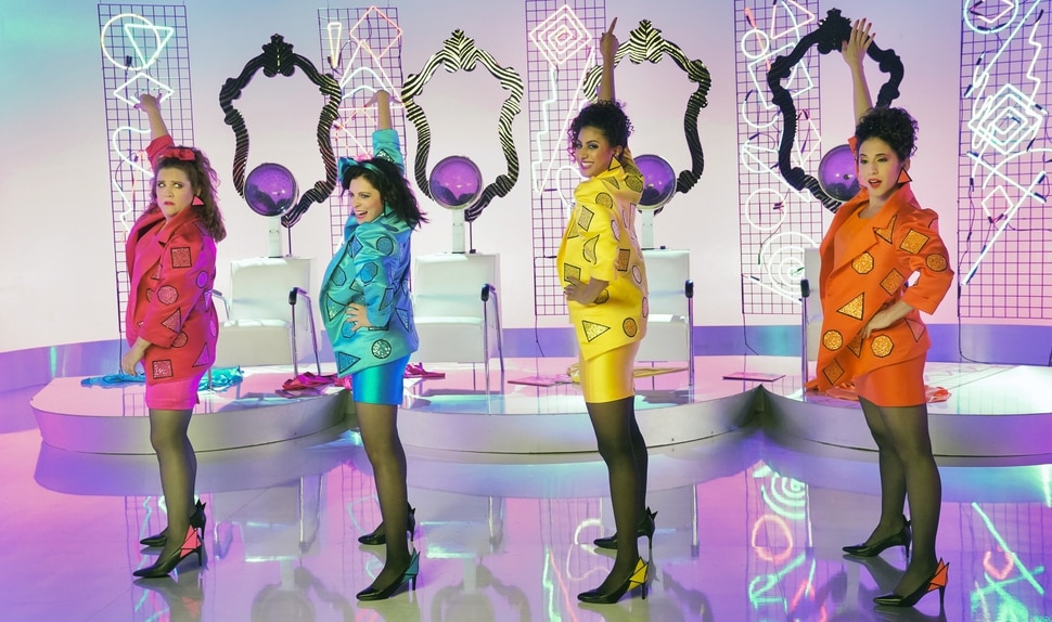 "(Courtesy of Greg Gayne/The CW) Paula (Donna Lynne Champlin) Rebecca (Rachel Bloom), Heather (Vella Lovell) and Valencia (Gabrielle Ruiz) perform a musical number in the second episode of ""Crazy Ex-Girlfriend's"" third season."