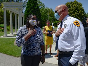 (Francisco Kjolseth  |  Tribune file photo) Author and activist Darlene McDonald, speaks with Salt Lake City Police Chief Mike Brown following a press event with Lake City Mayor Erin Mendenhall, the Salt Lake City Council, and members of the community who announced the Commission on Racial Equity in Policing, at the International Peace Gardens on, June 25, 2020. The commission is seeking public input on it's initial recommendations and has rescheduled a virtual meeting for Thursday, Jan. 28.