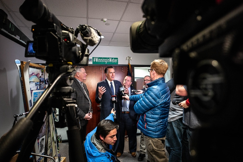 (Trent Nelson | The Salt Lake Tribune) Senator Mitt Romney answers questions from the media after meeting with Weber County Comissioners in Ogden to discuss the ongoing government shutdown on Friday Jan. 18, 2019.