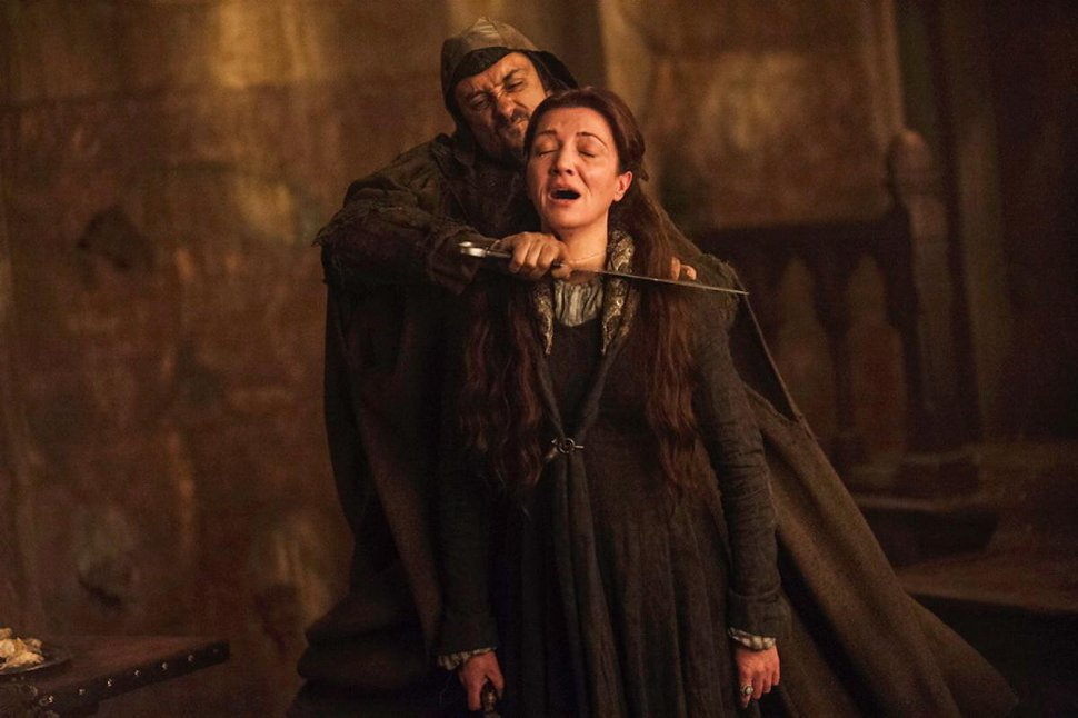 | Courtesy HBO Lady Catelyn Stark (Michelle Farley), who has already seen her son and daughter-in-law murdered, is about to die at the Red Wedding.