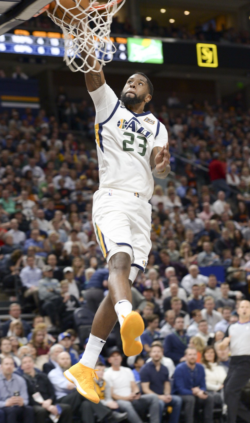 (Leah Hogsten | The Salt Lake Tribune) Utah Jazz forward Royce O'Neale (23) with the bucket. The Utah Jazz lead the Golden State Warriors 62-33 during their game, Tuesday, April 10, 2018 at the Vivant Smart Home Arena.