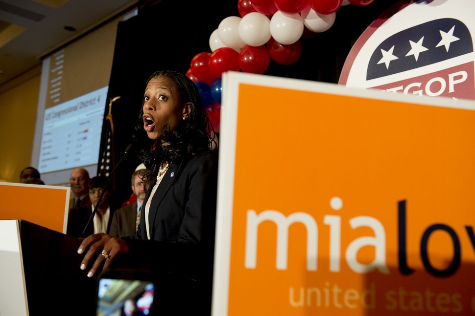 Steve Griffin | The Salt Lake Tribune Mia Love delivers her victory speech after defeating opponent Doug Owens in the race for Utah's 4th Congressional District, Tuesday November 4, 2014.