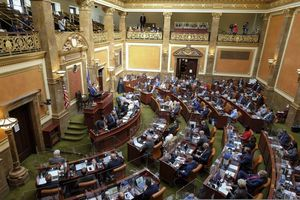 (Francisco Kjolseth | The Salt Lake Tribune) Utah House members are partitioned by plexiglass as the Utah Legislature opens the 2021 legislative session at the Capitol in Salt Lake City on Tuesday, Jan. 19, 2021.