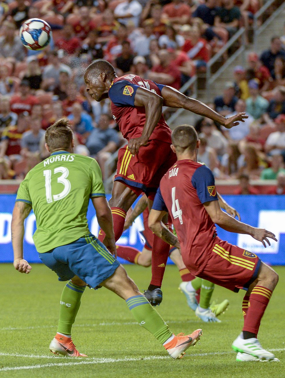 (Leah Hogsten | The Salt Lake Tribune) Real Salt Lake defender Nedum Onuoha (14) helps with a win over the Seattle Sounders in August. Onuoha believes having all 11 players commit to playing strong defense could lead to a strong playoff push for RSL.