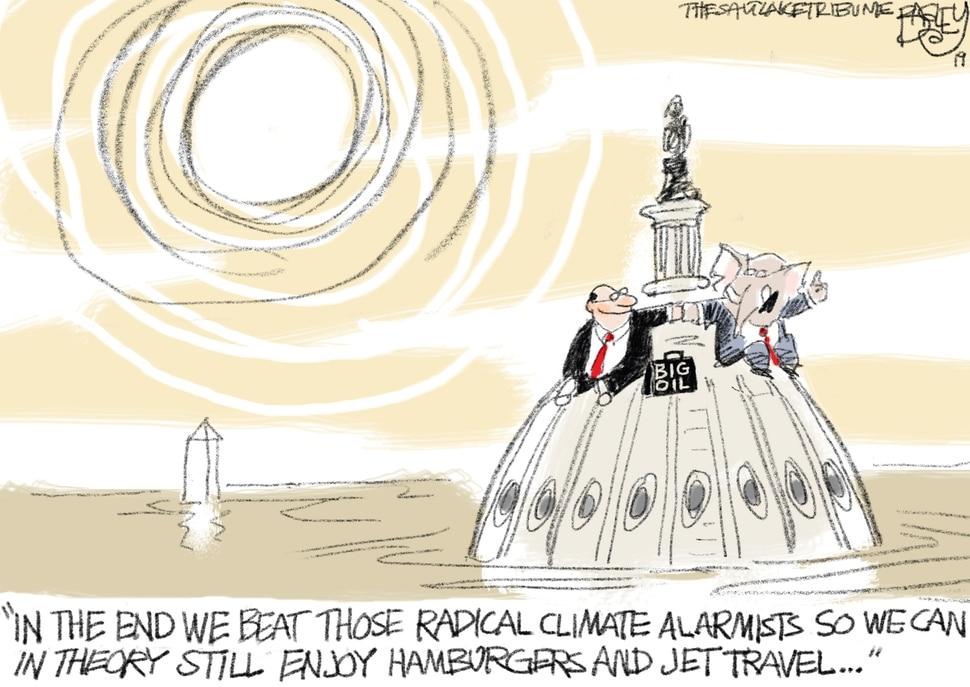 "(Pat Bagley | The Salt Lake Tribune) This Pat Bagley cartoon, titled ""The Ruinous Green New Deal,"" appears in The Salt Lake Tribune on Thursday, April 18, 2019."