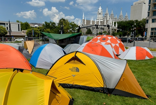 Francisco Kjolseth | The Salt Lake Tribune This tent city was part of the outdoor recreation industry's last trade show in Utah on Wednesday, July 26, 2017, before moving to Denver.