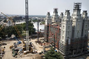 (Leah Hogsten | The Salt Lake Tribune) The Salt Lake Temple of The Church of Jesus Christ of Latter-day Saints is under major ongoing renovations, Aug. 4, 2021.