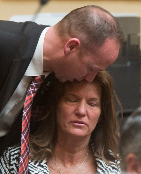 (Rick Egan | The Salt Lake Tribune) Rep. Justin Fawson comforts Laura Warburton, the mother of Hannah Warburton, who took her own life a few in 2014, as the they discuss HB 41, which has become known as Hannah's Bill on the floor of the House of Representatives, Friday, January 26, 2018.