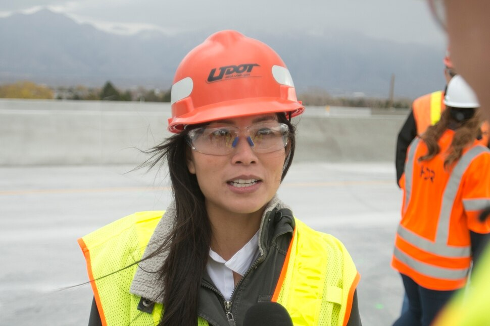 (Rick Egan | The Salt Lake Tribune) Oanh Le-Spradlin, Project Manager of the I-215 project asks about her project that will open on Monday morning, all lanes will open on the I-215 west belt. Thursday, November 16, 2017.