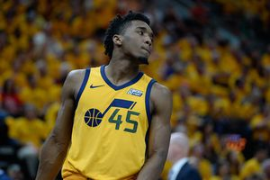 (Francisco Kjolseth     The Salt Lake Tribune)  Utah Jazz guard Donovan Mitchell (45) looks away after a missed shot against the Houston Rockets in Game 4 of the NBA playoffs at the Vivint Smart Home Arena Sunday, May 6, 2018 in Salt Lake City.