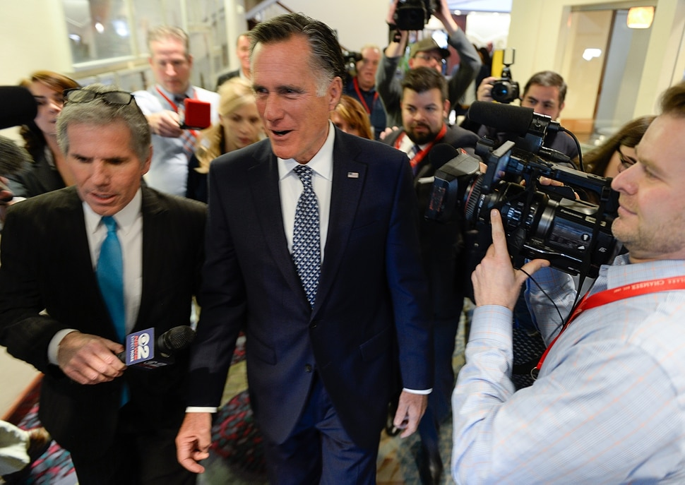 (Francisco Kjolseth | The Salt Lake Tribune) Mitt Romney is pursued by the media hoping to get an answer to a possible run for senate after he spoke at the Utah Economic Outlook & Policy Summit 2018, hosted by the Salt Lake Chamber at the Salt Lake City Marriott Downtown at City Creek on Tuesday, Jan. 16, 2018.