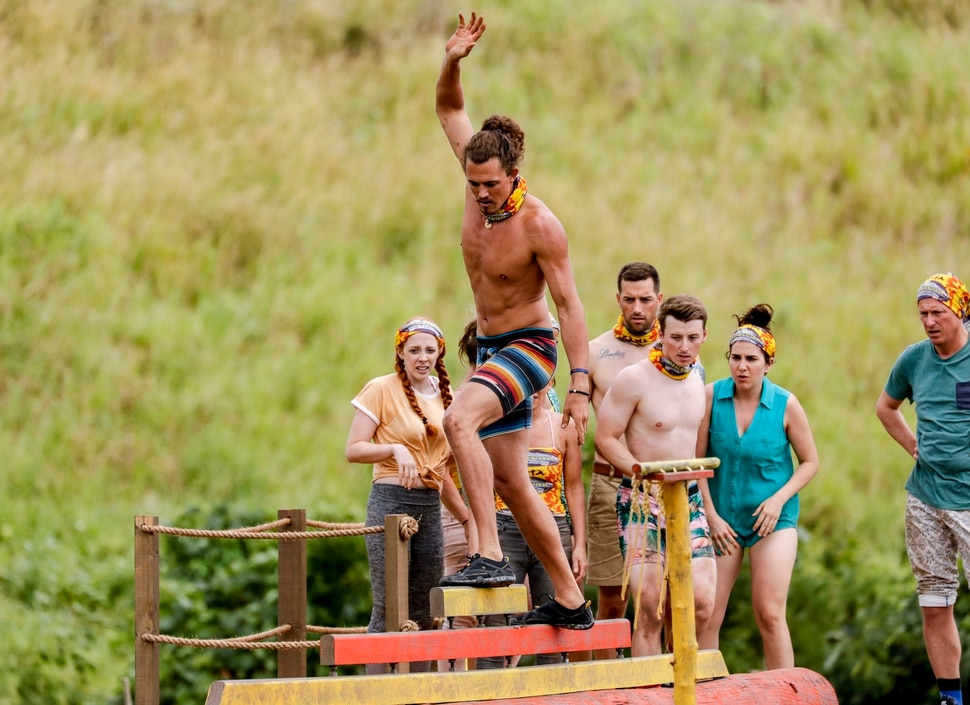 """(Photo courtesy Robert Voets/CBS Entertainment) Joe Anglim competes in a challenge in the premiere of """"Survivor: Edge of Extinction"""" on Wednesday at 7 p.m. on CBS/Ch. 2."""