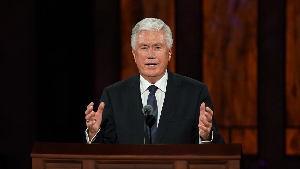 (Photo courtesy of The Church of Jesus Christ of Latter-day Saints) Apostle Dieter F. Uchtdorf speaks at General Conference on Oct. 3, 2020.